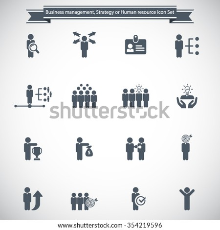 Business management, strategy or human resource icon set - stock vector