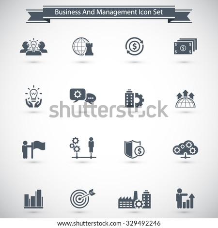 Business management, strategy or human resource icons - stock vector