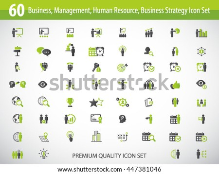 Business management, training, strategy or human resource icon set. EPS 10 vector. Can be used for any project - stock vector