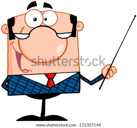 Business Manager Gesturing With A Pointer Stick - stock vector
