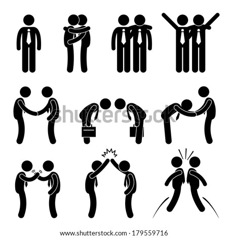 Business Manner Greetings Gesture Stick Figure Pictogram Icon - stock vector