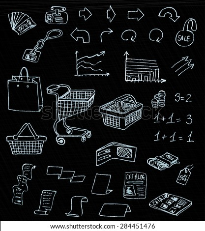 business market shopping doodles in chalkboard background, vector - stock vector