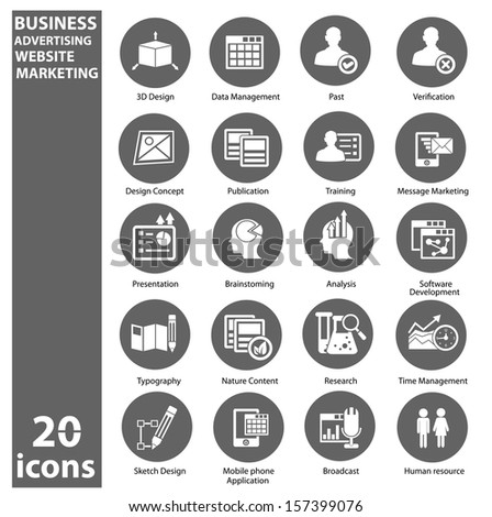 Business,Marketing & Advertise icons,Gray version,vector - stock vector