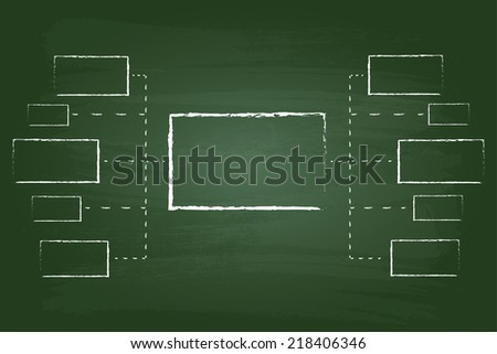 Business Marketing Flow Chart Rectangles Graphic On Green Board - stock vector