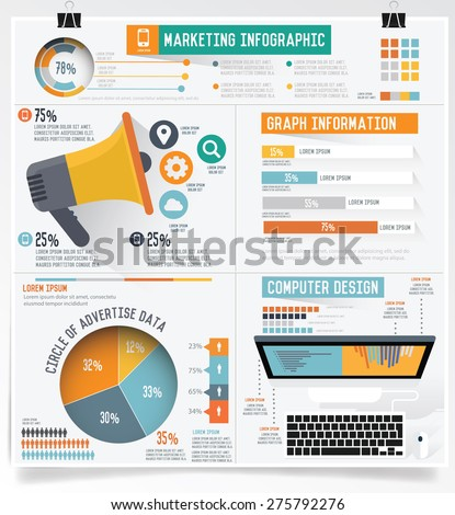 Business marketing info graphic on clean background,clean vector  - stock vector
