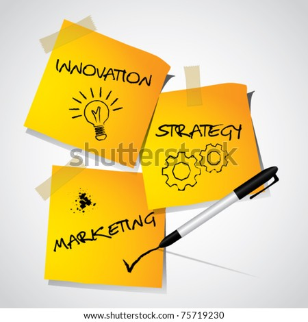 Business marketing strategy concept, illustrated strategy on memo stick notes, vector illustration - stock vector