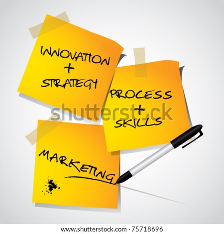 Business marketing strategy concept, strategy on memo stick notes, vector illustration - stock vector