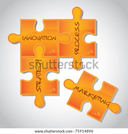Business marketing strategy concept, strategy on puzzle pieces, vector illustration - stock vector