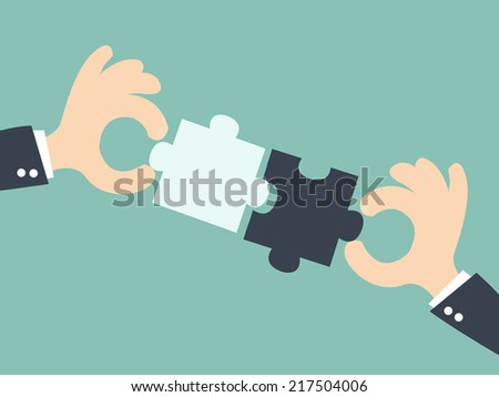 business  matching - connecting puzzle elements - stock vector