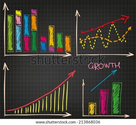 Business materials. Different kinds of charts and graphs. - stock vector