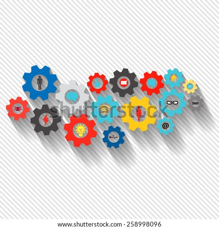 Business mechanism concept web technology and social network theme. Abstract with connected gears and icons for strategy, service, research, seo, digital marketing, communicate and infographic - stock vector