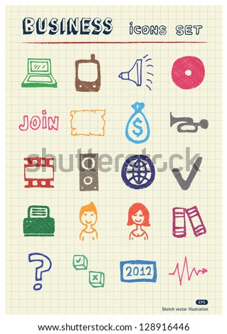 Business, media and social network web icons set drawn by color pencils. Hand drawn vector elements pack isolated on paper - stock vector