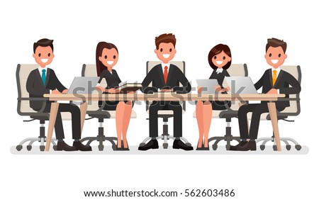 Business meeting at the big table, led by the head of the company. Vector illustration in a flat style