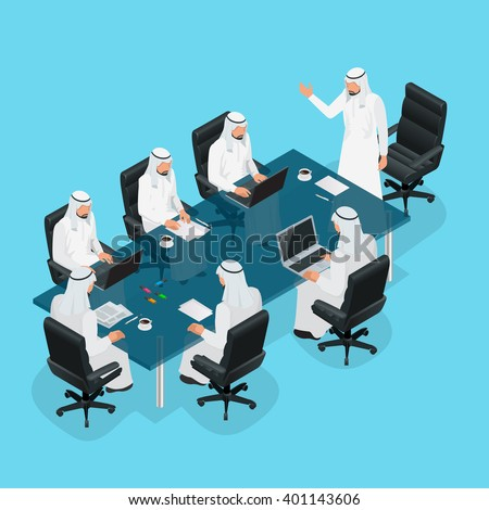 Business meeting concept, International Business, Arabic businessman presenting his ideas to colleagues for success investments at bright modern office room. 3d flat isometric vector illustration - stock vector