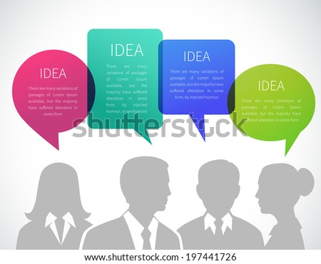 Business meeting concept with people silhouettes and idea speech bubbles vector illustration - stock vector