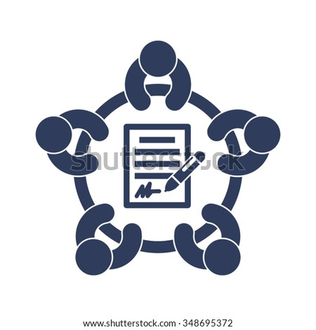Business Meeting Discussion Conference Brainstorming Contract Agreement Signature Partners People Together Vector Icon - stock vector