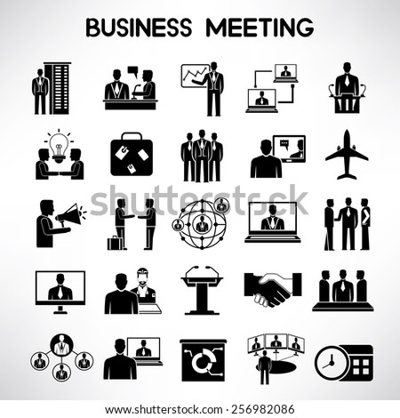 business meeting icons set - stock vector