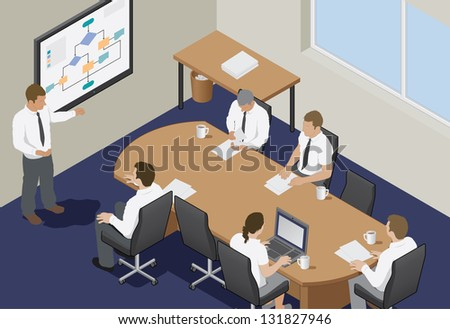 Business meeting in an office. Isometric vector illustration of a business presentation meeting in an office around a table. - stock vector