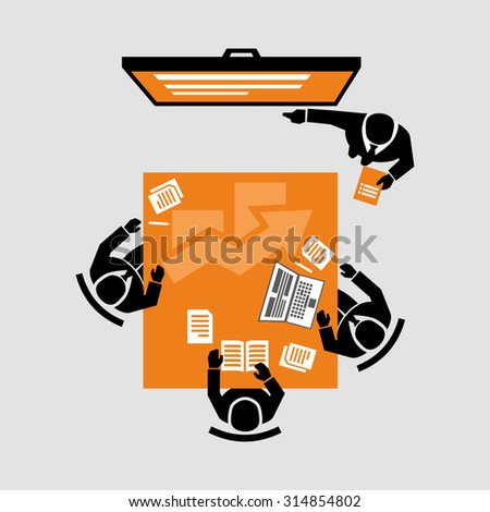 Business Meeting Learning Icons Vector - stock vector