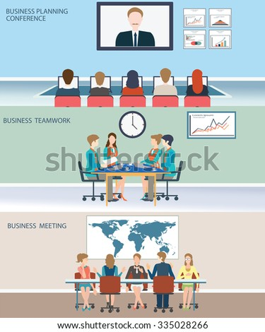 Business meeting, office, teamwork, planning, conference, brainstorming in flat style, conceptual vector illustration. - stock vector