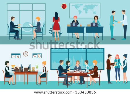 Business meeting, office, teamwork, planning, conference, office desk, brainstorming in flat style, conceptual vector illustration. - stock vector