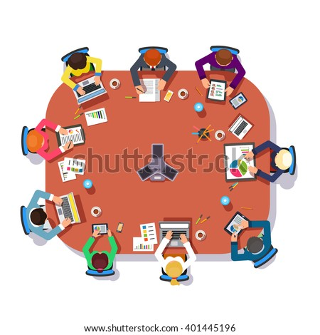 Business meeting over a big conference desk. Startup company people working together. Flat style vector illustration. - stock vector