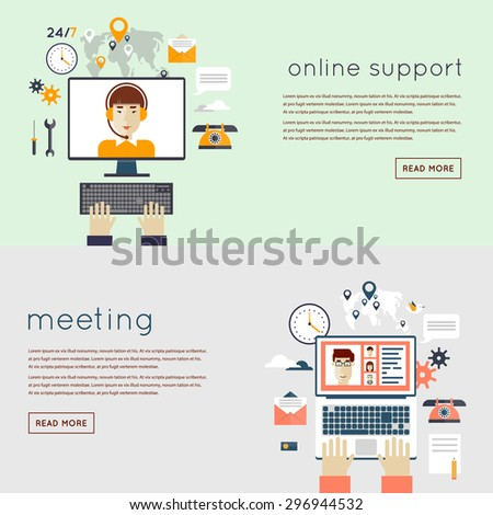 Business meeting. People talking on-line, working at the computers. On-line support 24h worldwide available. Woman operator. Teamwork analyzing project. Hands and laptop. Flat design vector. - stock vector
