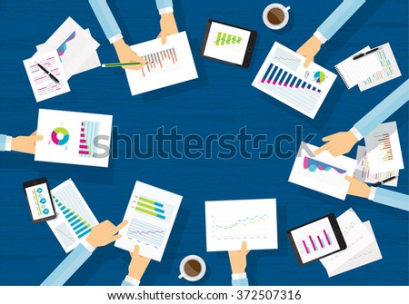 business meeting . share idea to work .business finance and investment . mobile device for business.report paper.graph analyze background.business brainstorm.hand hold paper.body part. work place  - stock vector