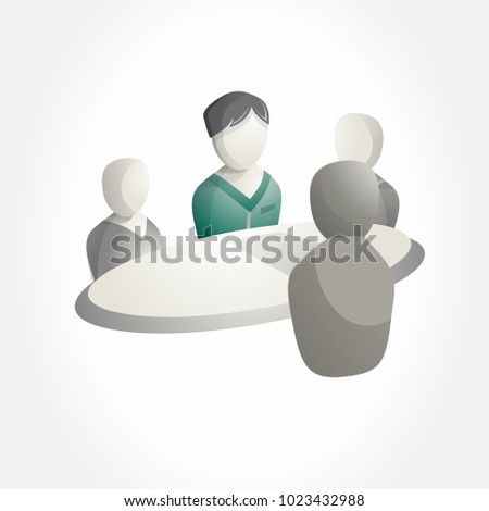 Business meeting table icon. Isometric pictogram.