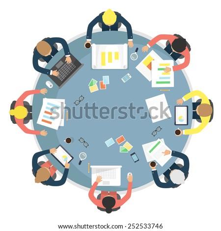 Business meeting, teamwork, brainstorming in flat style. Flat design vector illustration. - stock vector