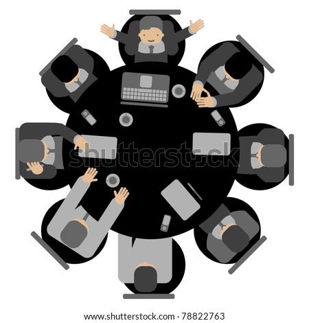 Business meeting, top view round table - stock vector