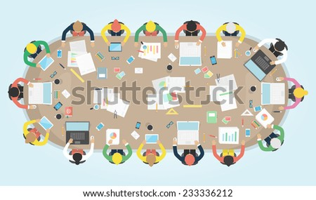 Business meeting. Vector illustration. - stock vector