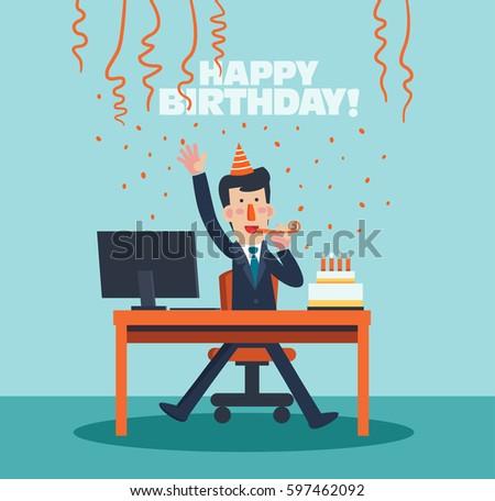 Business Men Celebrating His Birthday Office Stock Vector