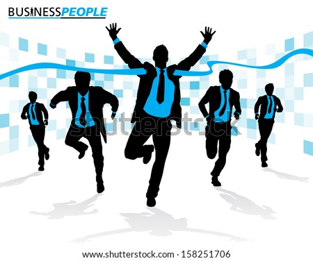 Business Men in Career Race. Vector illustration of a group of Business Men running in the race that could just define their careers.  - stock vector