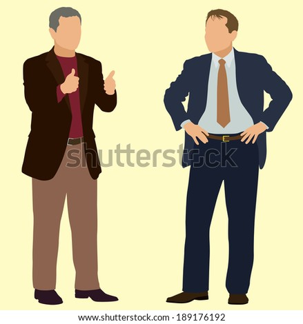 Business Men with Hands on Hips and Making Thumbs Up Sign - stock vector