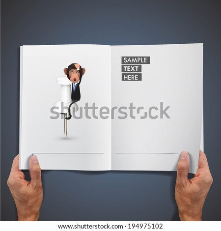 Business monkey with pushpin printed on book over blue background - stock vector