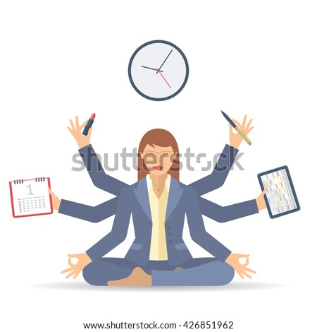Business multitasking time management. Flat vector concept isolated illustration. Businesswoman at work meditates with calendar, schedule, timetable in the hands. Busy woman's office meditation. - stock vector