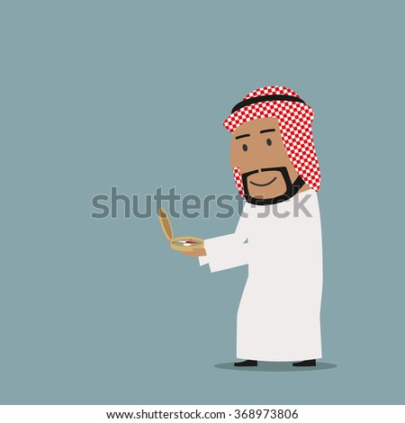 Business navigation, direction, way to success theme design. Smiling cartoon arab businessman is looking at vintage magnetic compass to find the way to success - stock vector