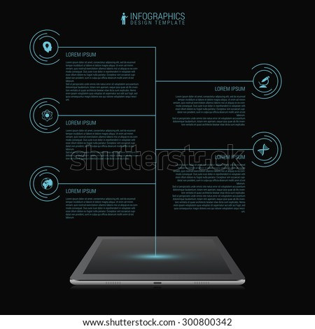 Business network timeline infographic template. Futuristic. Tablet. Vector - stock vector