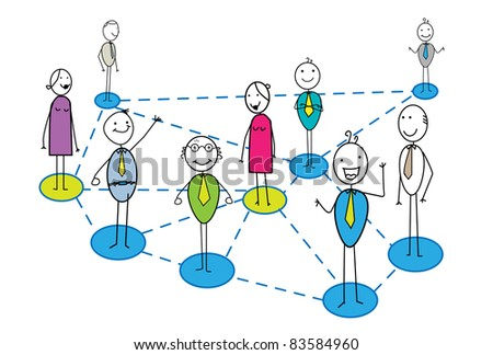 business network with many businessman and woman - stock vector
