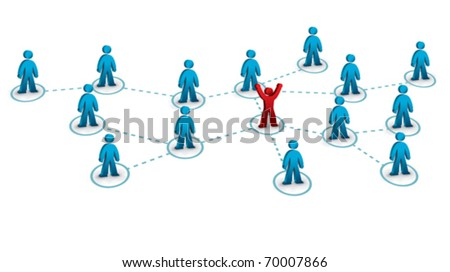 business network with one person connected to the rest - stock vector