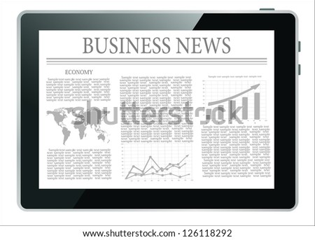 Business news on tablet pc on white background - stock vector