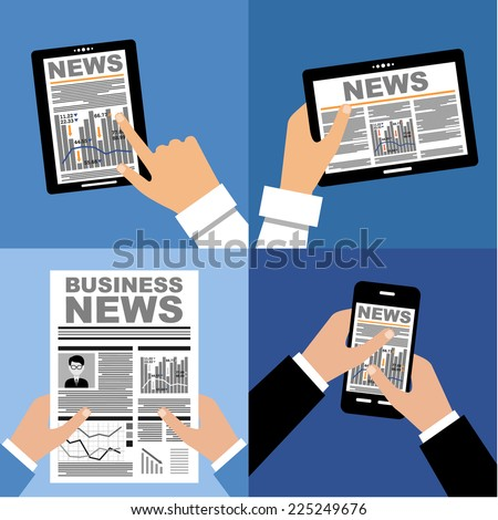 Business news on the tablet and in the newspaper. vector   - stock vector
