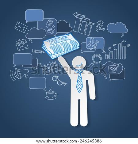 Business news team leader teamwork communication vector - stock vector