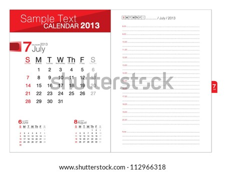 Business notebook with calendar for July 2013