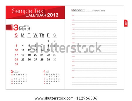 Business notebook with calendar for March 2013 - stock vector