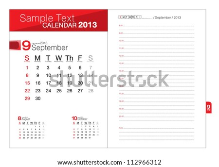 Business notebook with calendar for September 2013 - stock vector