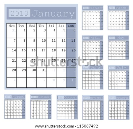 Business Notes Calendar 2013 - stock vector