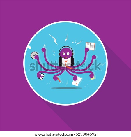 Business Octopus Multitasking in the office