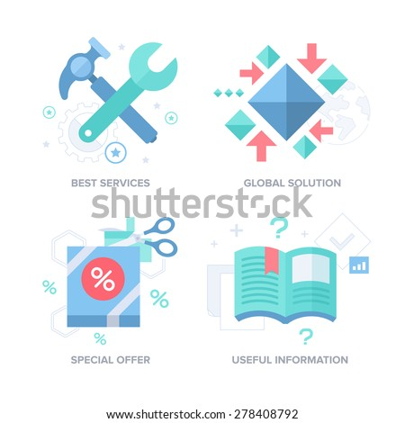 Business offer vector icons of company best service, global solution, special offer, useful information for web, mobile applications and print design. Modern flat style abstract business features - stock vector